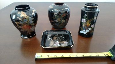 Japanese 4 Piece Vase and Plate Set
