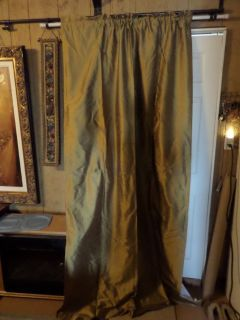 2) 100% Silk Window Treatment Curtains Gold Cotton Lined Slip Rod & 3) Ascot Valance