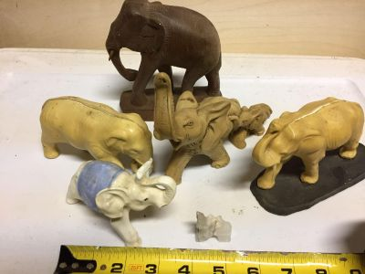 Lot of 6 elephants big brown ones is marked hand made teakwood