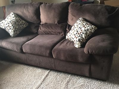 Chocolate Brown Sofa with 2 Pillows