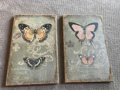 Like new. Canvas butterfly frames. $20 for both