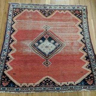 Antique Persian Rug 3' 4 x 3' 2 Soft Red Afshar