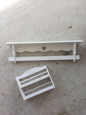 2 wood shelves. Shabby painted. Could be easily repainted.