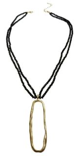 DUE DEC. 2! SWEET LOLA BOUTIQUE TWO STRAND BLACK FACETED CRYSTAL BEAD NECKLACE, MATTE GOLD OVAL RING PENDANT WITH EXTENSION.