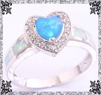 New - Blue Heart Fire Opal and White Fire Opal Ring - Size 7 and 8