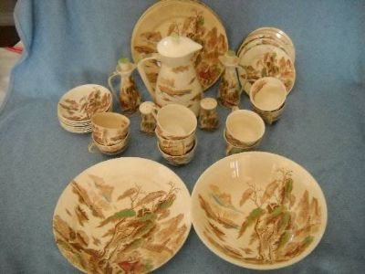 Nasco China Sayonara Pattern Japan Pagoda Fishing Village Cream Set