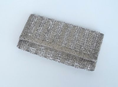 Vintage 50's Silver Beaded Clutch Purse