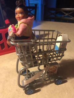 Baby doll/grocery cart/toys/booster seat/milk/can& tp lot