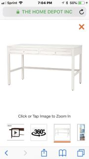 new in box Martha Stewart Living Craft Space 36 in. H 2-Drawer Wood Craft Table in Picket Fence