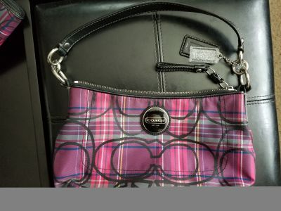 Nwot authentic coach tartan purse and matching wallet