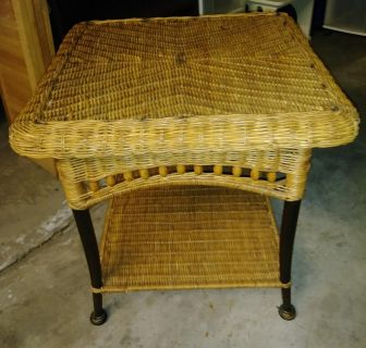 Wicker and Metal End Table
