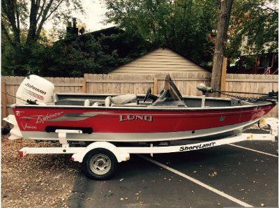 USED IN FRESH WATER! LUND 17FT. EXPLORER FISHING BOAT AND TR
