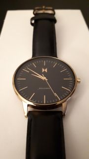 Mvmt watch ( rose gold and black leather)