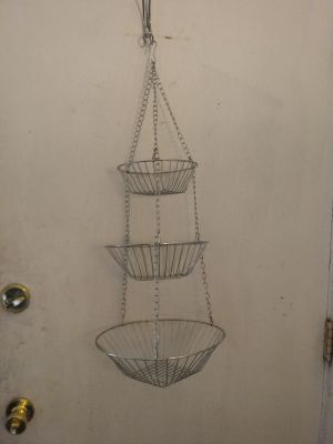 3 tier metal wire hanging fruit baskets