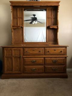 Solid Wood Long Dresser with Hutch Mirror