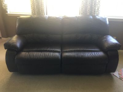 Electric Reclining Leather Blend Couch