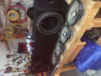 "Car Audio bundle (two 10"" subs, four 6x8 door speakers, 1 mono amp, one 5 channel amp, + more)"