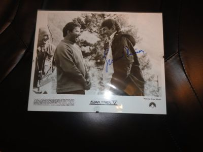 lenord nimoy autographed black and white photo 1989 star trek V with william shatner