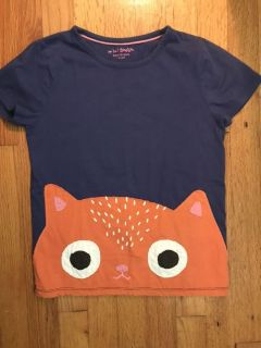 9-10 Mini Boden top with kitty vvguc