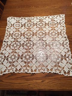 Vintage 26 x 24 Crocheted Lace Table Scarf