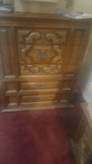 reduced real wood chest of drawers with bed side table