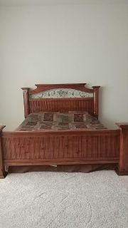Solid wood 3 -piece King Bedroom set. Includes bed (no mattress), Chest, Dresser with mirror