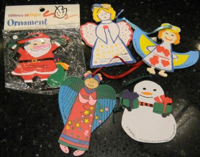 5 MD Anderson Cancer Center Children's Art Project Ornament Vintage Lot