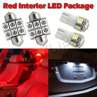 "Purchase 6 Red Led Interior Lights Package For Map T10+ Dome 1.25""+ License Plate Lamp motorcycle in Cupertino, CA, US, for US $14.88"