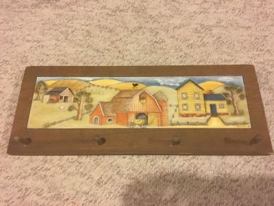 Wood coat hanger with painted farm picture