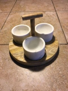 White Marble Dipping Bowls with Wood Tray