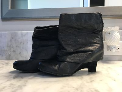 Women s Black Boots with Silver Trim