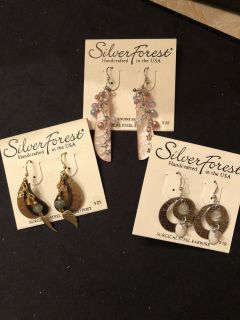 NWT 3 pair earrings. Rep samples. Surgical steel wires. Ppu