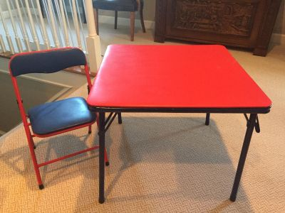 Child s folding table with one char