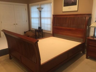 Cherry wood queen bed, dresser with mirror & night stand