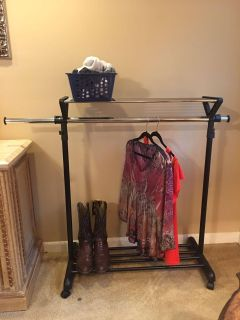 Rolling Clothes Rack or Closet Organizer w/ top & bottom Shelves - Extendable Side Rods