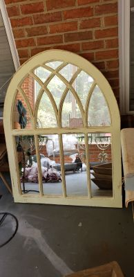 LARGE ARCHED MIRROR CATHEDRAL WINDOW 35 BY 46