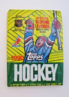NEW Topps 1990 NHL Hockey Trading Cards Wax Pack Bubble Gum Picture Team Score