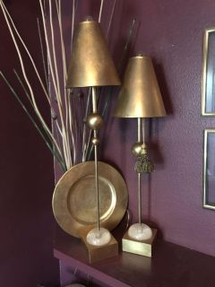 Pair of Van-teal candle stick accent lamps
