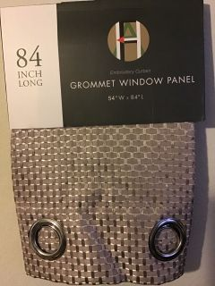 2 Panels Embroidery Grommet Curtains