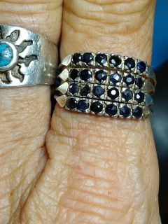 Vintage Sterling authentic sapphire stack ring