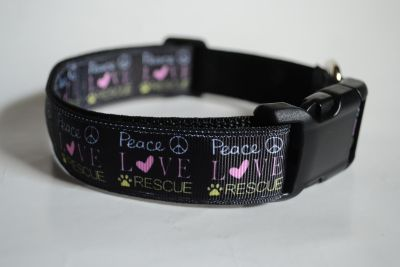 """Peace Love Rescue"" Dog Collars"