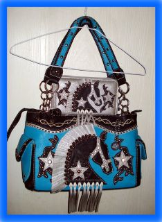 EQUESTRIAN HORSE Concealed Carry PURSE & WALLET Turquoise / Teal