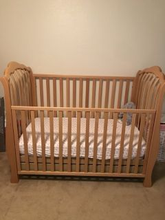 Light Wood Crib and Changing Table