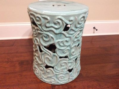 Light Turquoise Ceramic Side Table