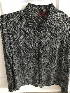 Black and white silk blouse size L