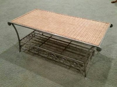 Metal and wicker coffee table