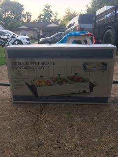 Triple buffet server and warming tray BRAND NEW
