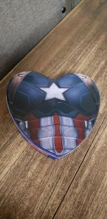Metal Avengers Captain America Heart Shape Tin Can. Excellent Condition.