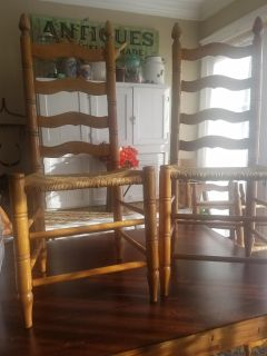 4 Antique Ladder Back chairs