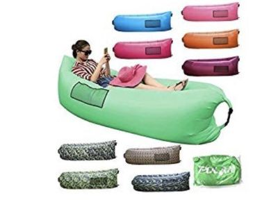 Quick inflatable air lounger for beach, park, or anywhere